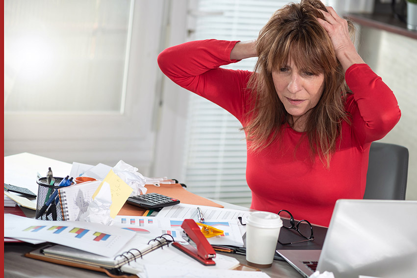 entrepreneur stressed by lack of organization and productivity